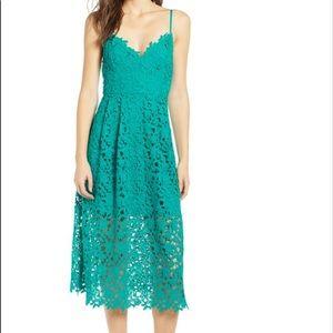 NWT ASTR Lace Midi Dress in Jade Green